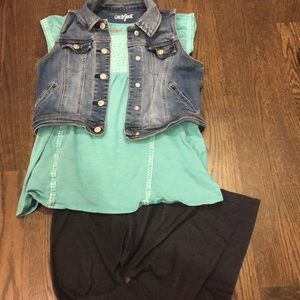 Shirt, vest, and legging outfit.